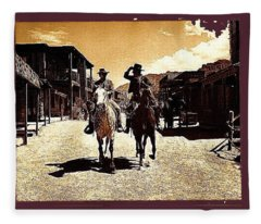Mark Slade Cameron Mitchell The High Chaparral Main Street Old Tucson Az C.1967-2013  Fleece Blanket