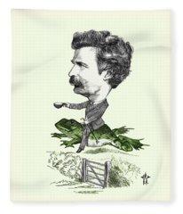 Mark Twain Caricature Colorized Fleece Blanket