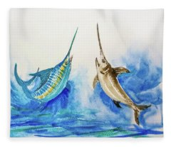 Marlin And Swordfish Pair One Fleece Blanket