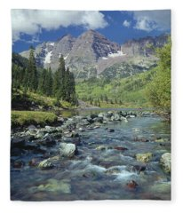 210404-maroon Bells And Creek  Fleece Blanket