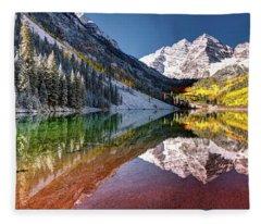 Olena Art Sunrise At Maroon Bells Lake Autumn Aspen Trees In The Rocky Mountains Near Aspen Colorado Fleece Blanket