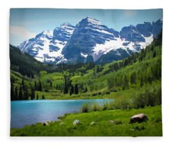 Maroon Bells - Watercolor Fleece Blanket