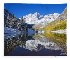 Maroon Lake And Bells 1 Fleece Blanket