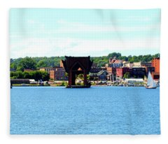 Marquette Michigan Harbor One Fleece Blanket