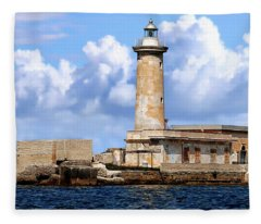 Marsala Lighthouse Fleece Blanket
