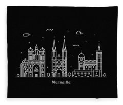 Marseille Skyline Travel Poster Fleece Blanket