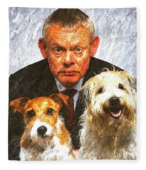 Martin Clunes As Doc Martin With Dogs Oil Painting Fleece Blanket