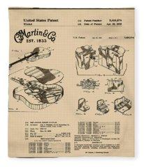 Martin Guitar Patent Dx1 1995 Sepia Fleece Blanket