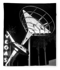 Martini Sign In Vegas B-w Fleece Blanket