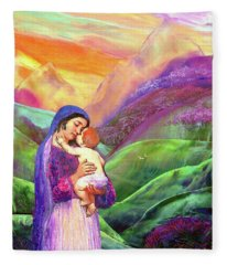 Mary And Baby Jesus Gift Of Love Fleece Blanket