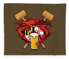Maryland Crab Feast Crest Fleece Blanket