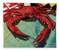Maryland Red Crab Fleece Blanket