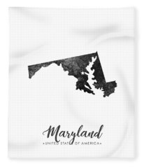 Maryland State Map Art - Grunge Silhouette Fleece Blanket