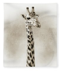 Masai Giraffe Closeup Square Sepia Fleece Blanket