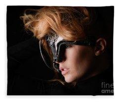 Masked Beauty Fleece Blanket