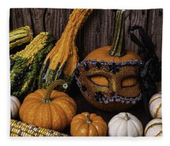 Masked Pumpkin Fleece Blanket