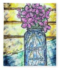 Mason Jar Bouquet Fleece Blanket
