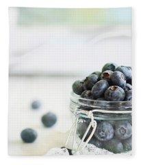 Mason Jar Full Of Blueberries Fleece Blanket