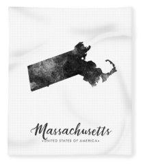 Massachusetts State Map Art - Grunge Silhouette Fleece Blanket