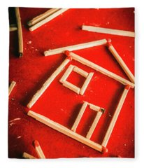 Matchstick Houses Fleece Blanket