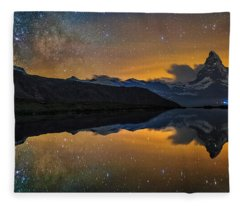 Matterhorn Milky Way Reflection Fleece Blanket