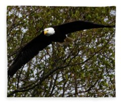 Mature Bald Eagle Fleece Blanket