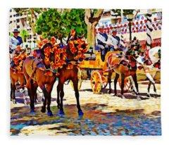 May Day Fair In Sevilla, Spain Fleece Blanket