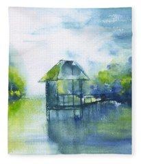 May River Crab Dock Abstract Fleece Blanket