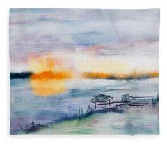 May River Sunset Fleece Blanket