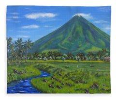 Mayon Volcano Fleece Blanket
