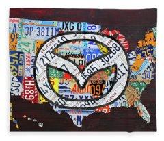 Mazda License Plate Map Of The Usa Fleece Blanket
