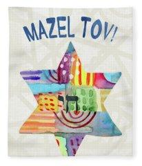 Mazel Tov Colorful Star- Art By Linda Woods Fleece Blanket