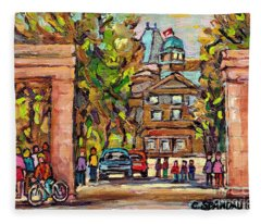 Mcgill Gates  Entrance Of Mcgill University Montreal Quebec Original Oil Painting Carole Spandau Fleece Blanket