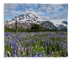 Meadow Of Lupine Near Mount Rainier Fleece Blanket