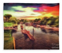 Meanwhile Back On The River Fleece Blanket
