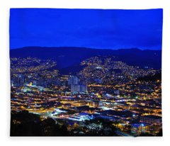 Medellin Colombia At Night Fleece Blanket