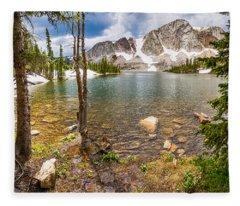 Medicine Bow Snowy Mountain Range Lake View Fleece Blanket