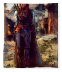 Medieval Lady Of Armor Fleece Blanket