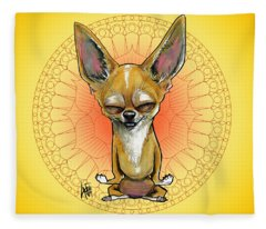 Meditating Chihuahua Fleece Blanket