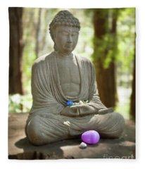 Meditation Buddha With Offerings Fleece Blanket