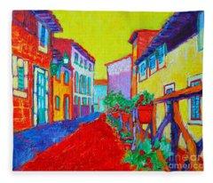 Mediterranean Cityscape Fleece Blanket