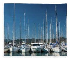 Mediterranean Marina Fleece Blanket