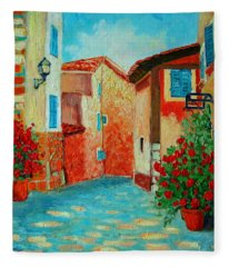 Mediterranean Street Fleece Blanket