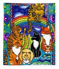 Meet Me At The Rainbow Bridge - Cat Painting Fleece Blanket