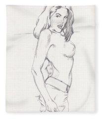 Megan - Sketch Fleece Blanket