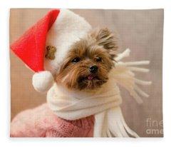 Melanie In Christmas Hat Fleece Blanket