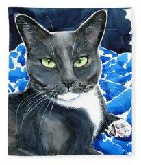 Melo - Blue Tuxedo Cat Painting Fleece Blanket