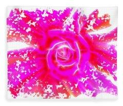 Melting Pink Rose Fractalius Fleece Blanket