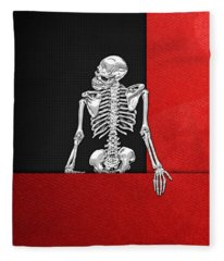 Memento Mori - Skeleton On Red And Black  Fleece Blanket