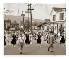 Memorial Day Parade Ashley Pa With Train Station And The Huber Colliery In Background 1955 Fleece Blanket